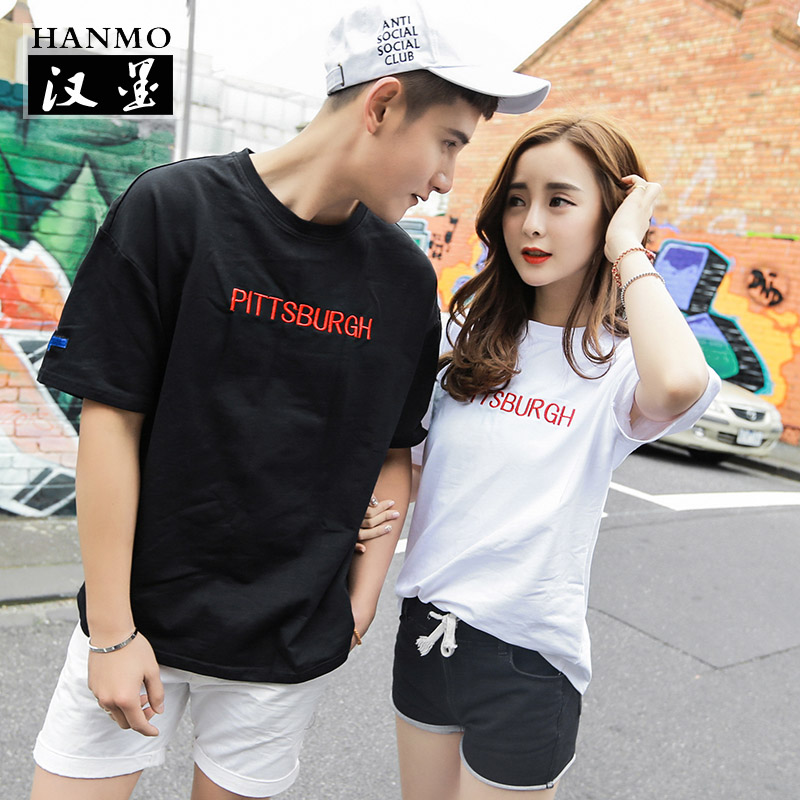 Lovers summer 2016 new wave of letters embroidered short sleeve t-shirt male korean loose sleeve shirt t-shirt lovers