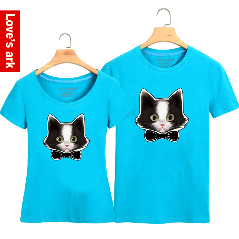 Lovers summer 2016 summer kitten meow star who meow cartoon printed t-shirts for men and women lovers short sleeve t-shirt tide