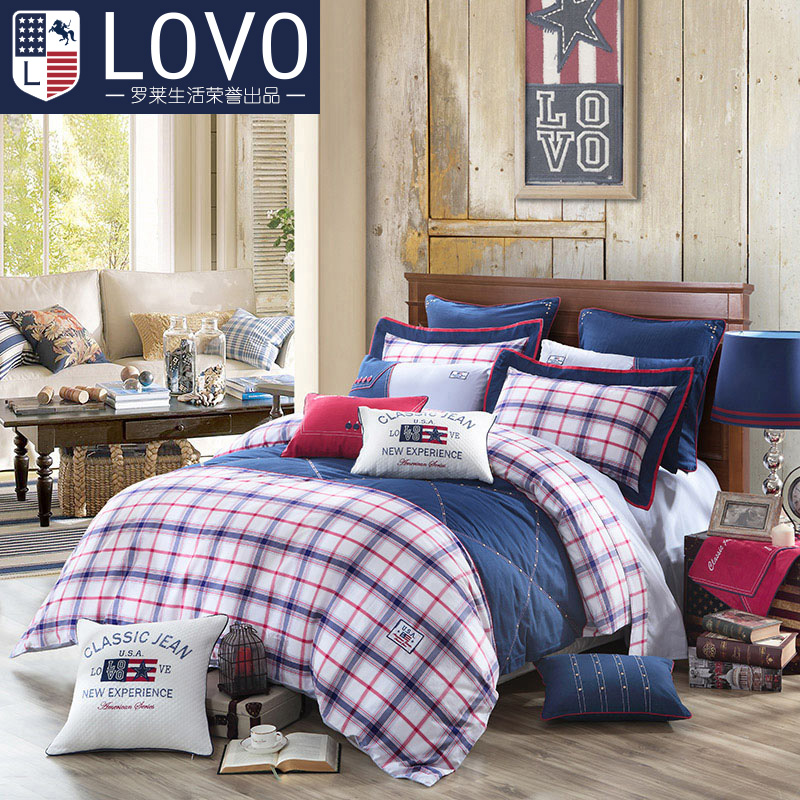 Lovo carolina textile european and american style european cotton jacquard cotton denim 1.8 m single sheets are