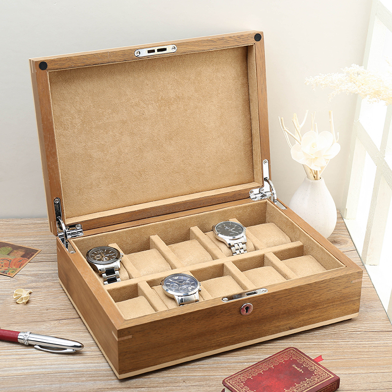 Lowe american black walnut wood pure solid wood storage box wooden watch box watch box chain bracelets exhibition showing the collection box money box with lock