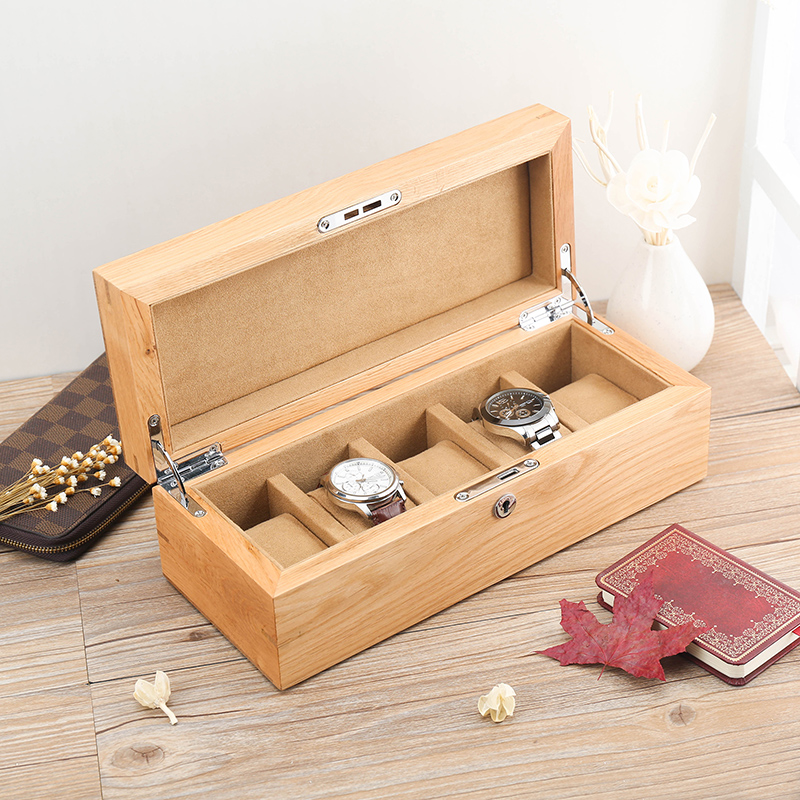 Lowe american pure solid oak wooden watch box watch box wood mechanical watch display collection box storage box with lock five loaded