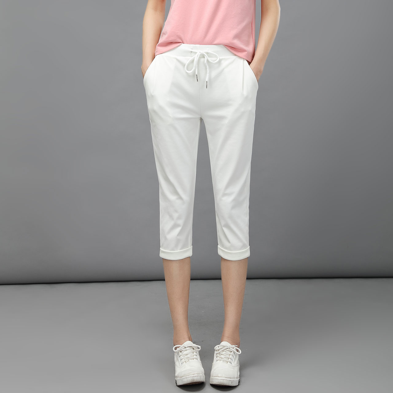 Lt white pants harem pant female summer thin korean version of casual shorts loose elastic waist pants feet was thin