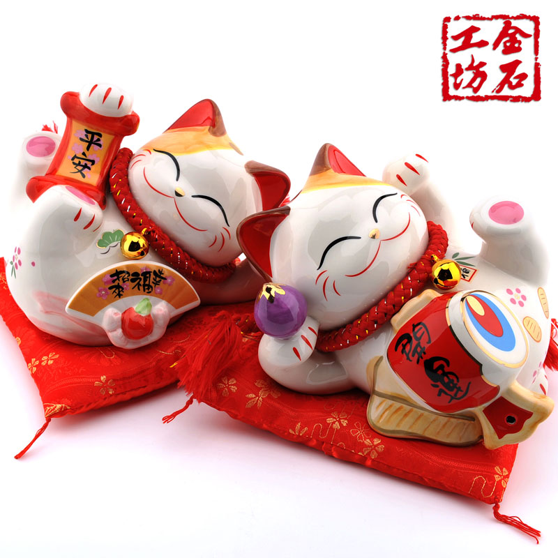 Lucky cat workshop stone trip in large ceramic cat ornaments birthday gift wedding couple