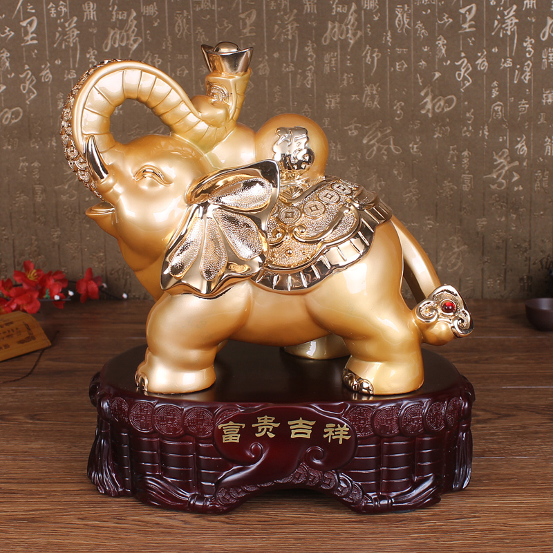 Lucky elephant ornaments one pair of opening gifts crafts living room tv cabinet ornaments like feng shui home furnishings