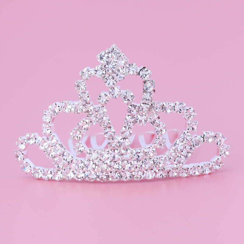 Lulu treasure children rhinestone crown headdress jewelry show performances crown princess bride dish hair comb inserted comb female