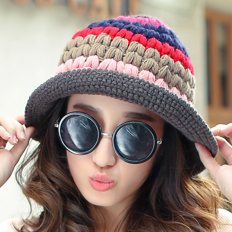 Get Quotations · Lun mei expensive wool hat female autumn and winter days  korean version spell color knit hat 9a5a4d7bb0b