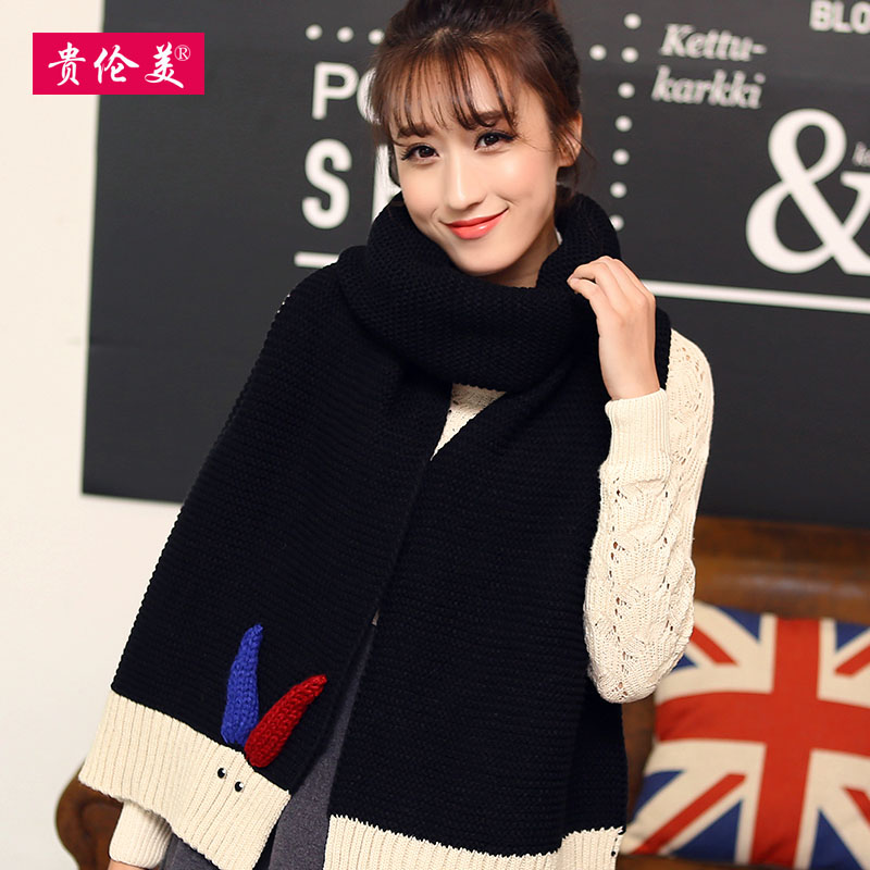 Lun mei expensive wool scarves hit color cute female korean autumn and winter days warm thick knitted scarf shawl students