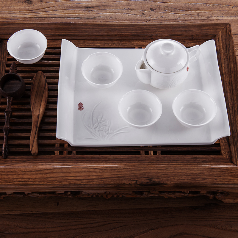 Lunda bone china pre-2015 guoxiang 6 head ming's slab engraved by hand kung fu tea bone china tea gift set