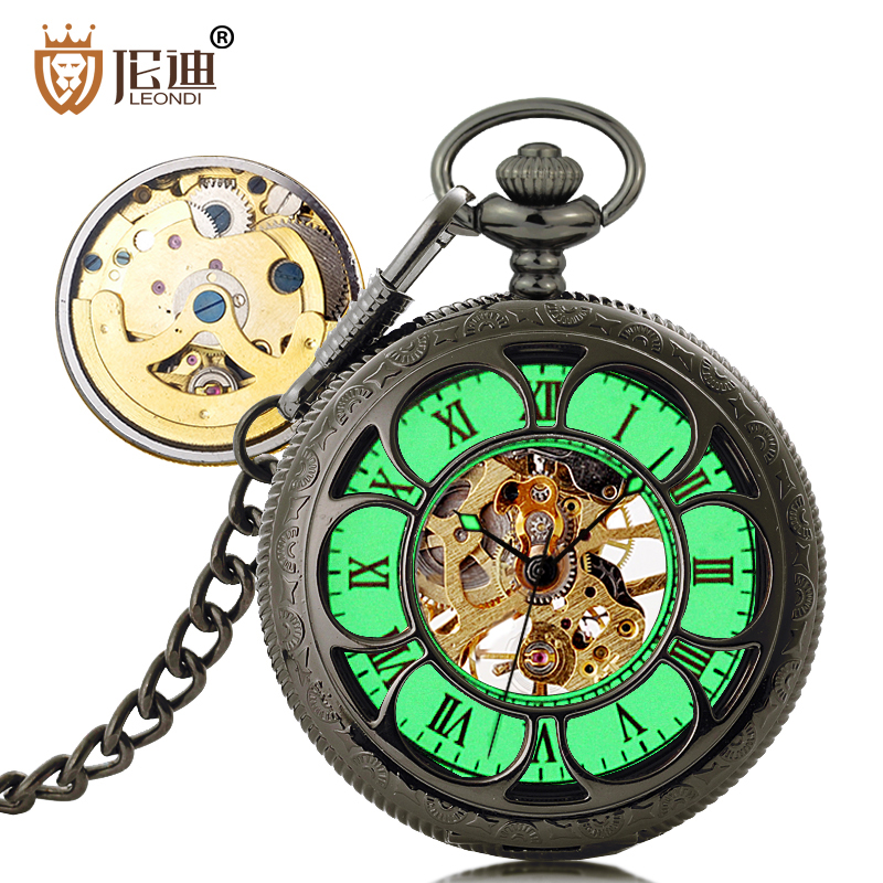 Lundy retro fashion flip pocket watch pocket watch men automatic mechanical pocket watch necklace hanging luminous watches creative students