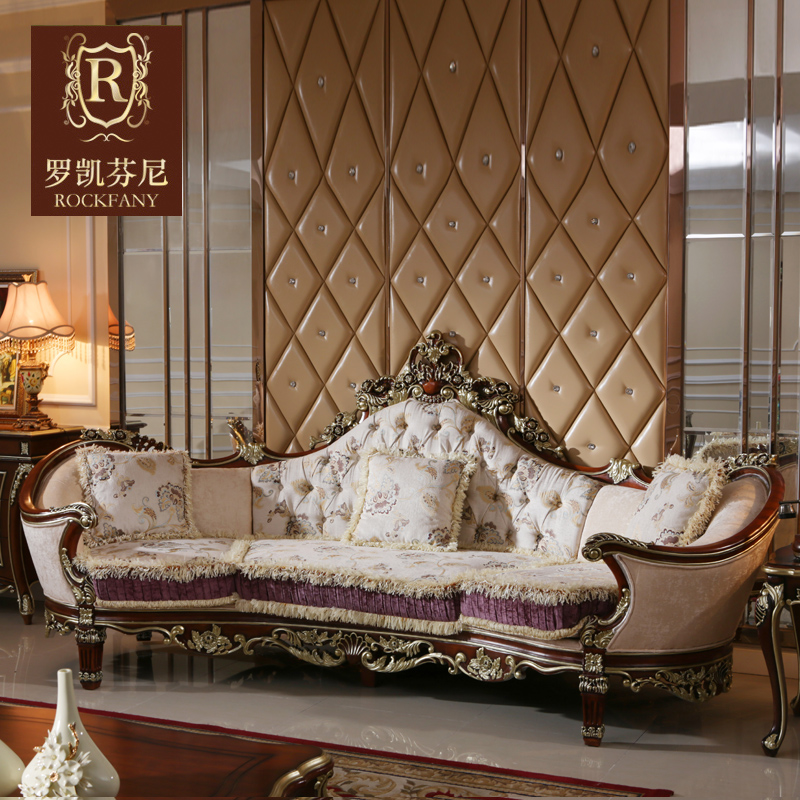 Luokaifenni american country fabric sofa neoclassical villa four bits of european solid wood sofa big house