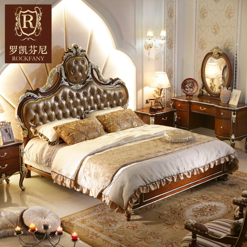 Luokaifenni american country furniture european solid wood double leather bed 1.8 m bed oak wood bed a