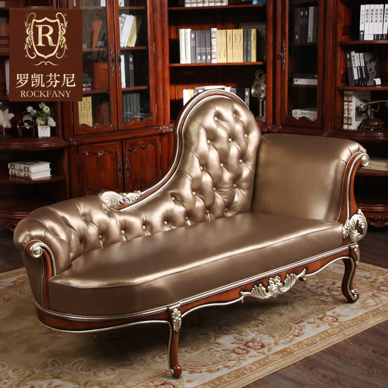 Luokaifenni american wood furniture european sofa leather chaise longue recliner chaise couch neoclassical a