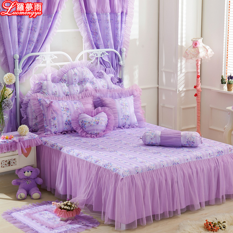Luomeng yu quilted cotton bed skirt korean princess lace bedspread single piece of cotton plus thick 1.5/1.8 m free shipping