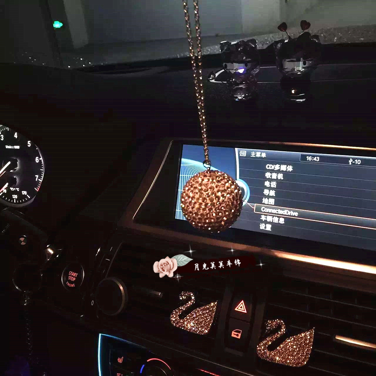 Luxury car pendant crystal ball lucky ball diamond pendant ornaments car carrier rearview mirror crystal pendant jushi