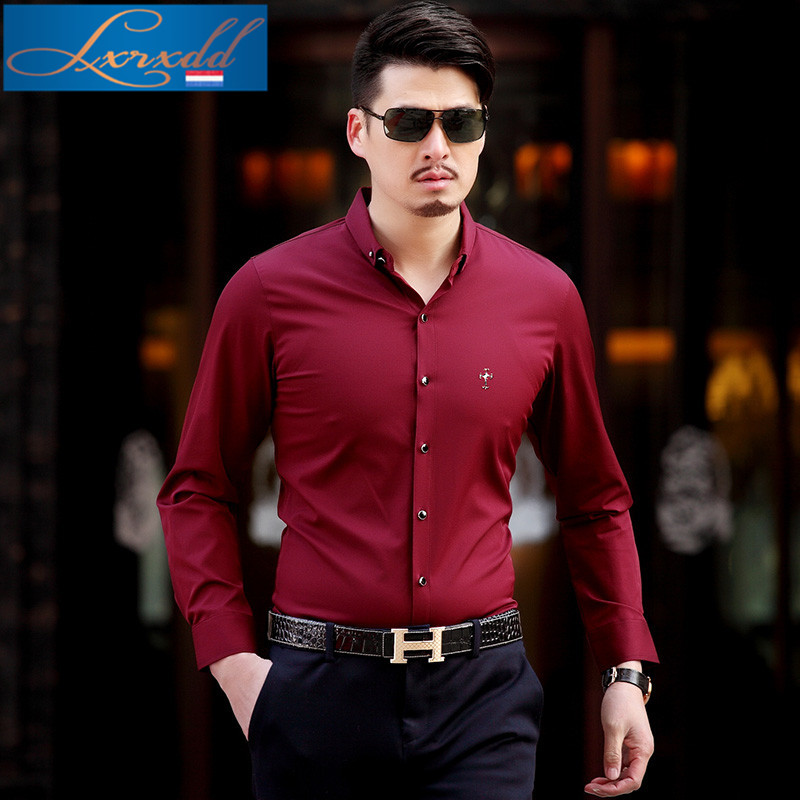 Lxrxdd iron casual men's fashion father loaded thin section 2016 new korean version of slim long sleeve shirt 5131