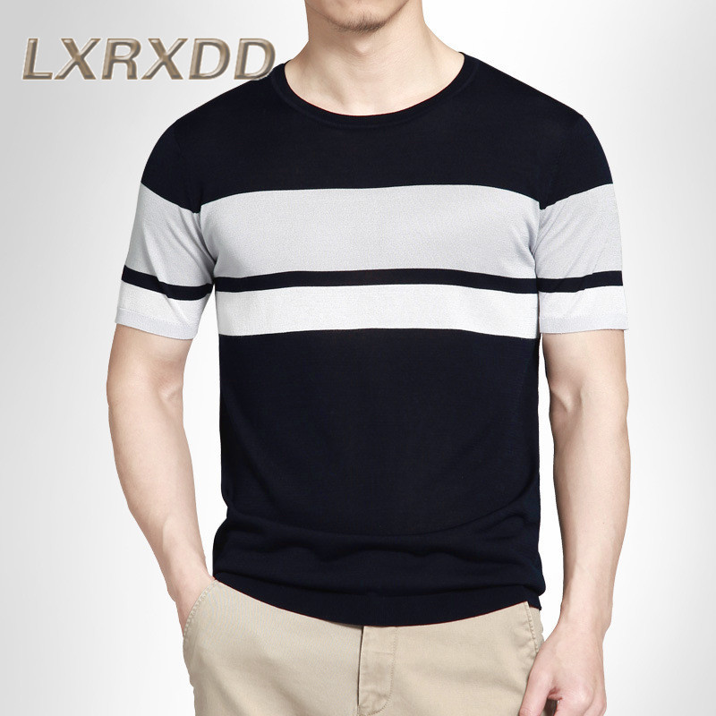 Lxrxdd short sleeve slim youth men's summer 2016 new thin section round neck knit t-shirt tide 6463