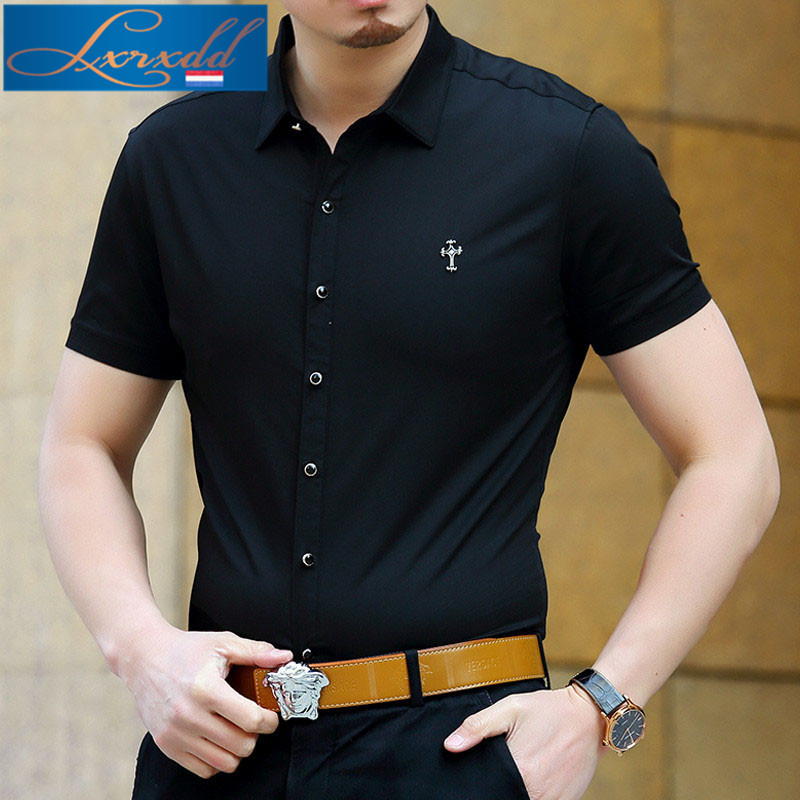 Lxrxdd slim was thin middle-aged men's new thin section 2016 summer fashion solid color short sleeve shirt tide 8116