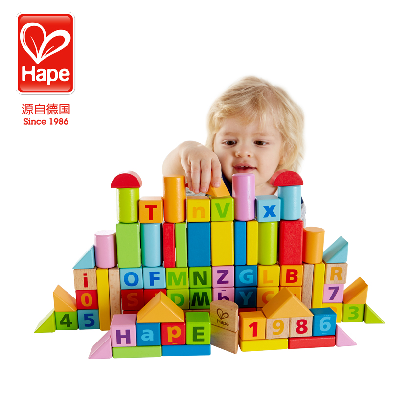 [Lynx supermarket] germany hape80 grain beech wooden puzzle toy building blocks baby enlightenment