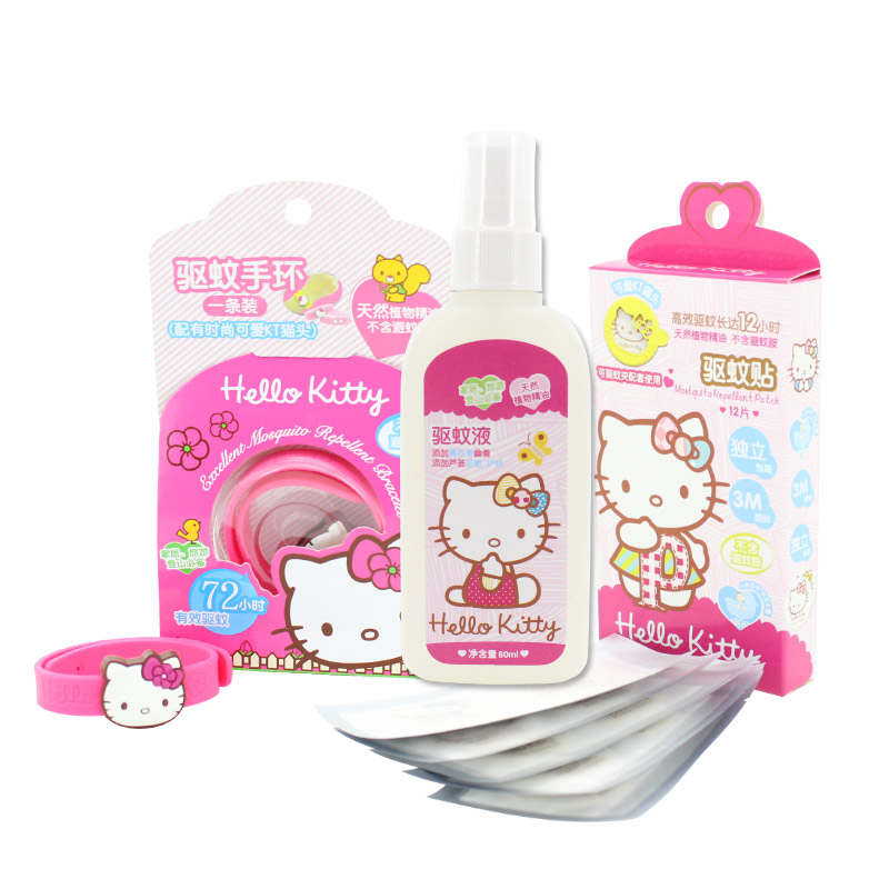[Lynx supermarket] three sets of hello kitty mosquito repellent mosquito repellent liquid mosquito repellent bracelet baby baby mosquito repellent stickers affixed