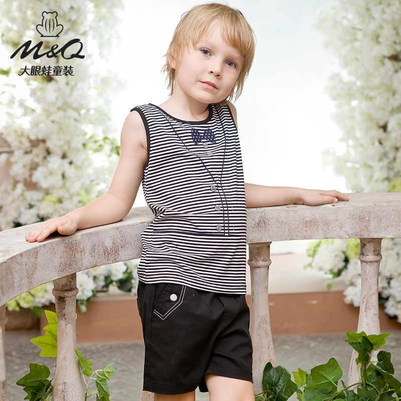 M & q big eyes frog kids fashion boys summer influx of big boy casual round neck striped knit vest sweater vest