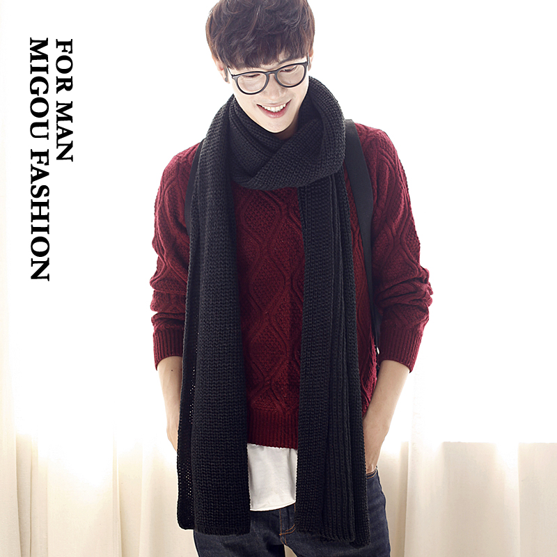 M buy korean version of the solid color in autumn and winter warm knitted wool scarves tide male korean men's scarf scarf female couple