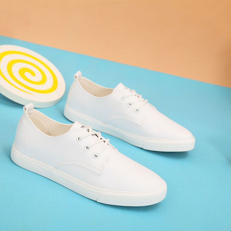 Madden 2016 new women canvas shoes to help low imitation pu simple solid color lace shoes student white shoes free shipping