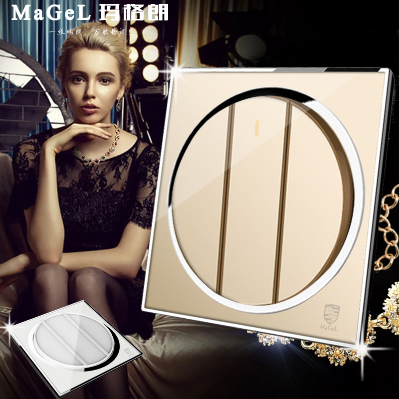 Mage lang circular crystal mirror switch socket 3 three open dual control three open double wall switch socket panel
