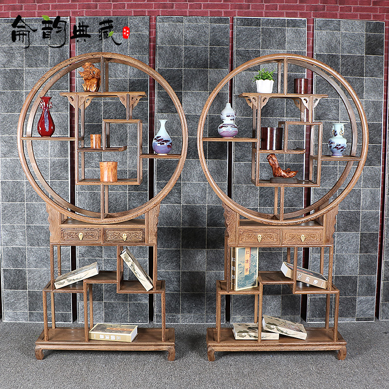 Mahogany furniture wenge wood round wood mahogany shelf off chinese antique treasure house antique frame