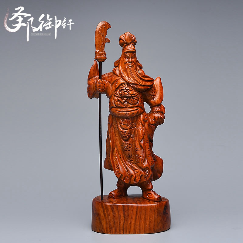 Mahogany wood ornaments hengdao guan gong guan yu wu treasurer buddha pear wood carving wood crafts gift
