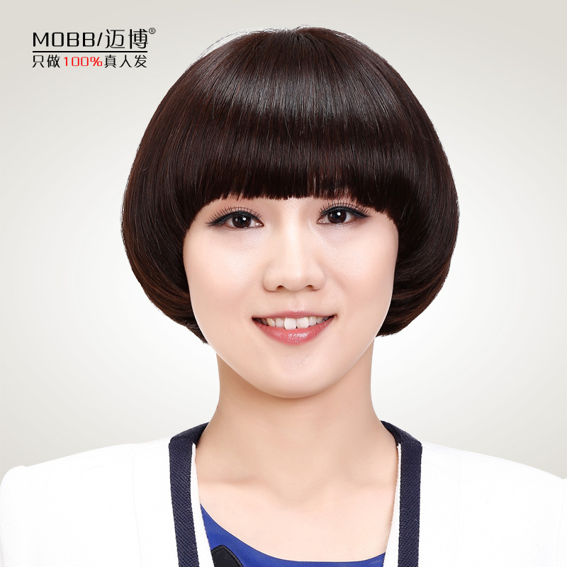 Maibo real hair wig fashion female short hair wigs short straight hair bobo head ball head hair wig lifelike