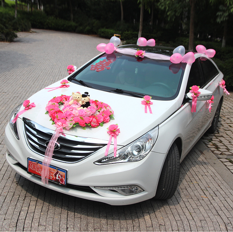 Maida make wedding celebration supplies wedding car decorated floats simulation suit cubs love front decorative flower arrangement