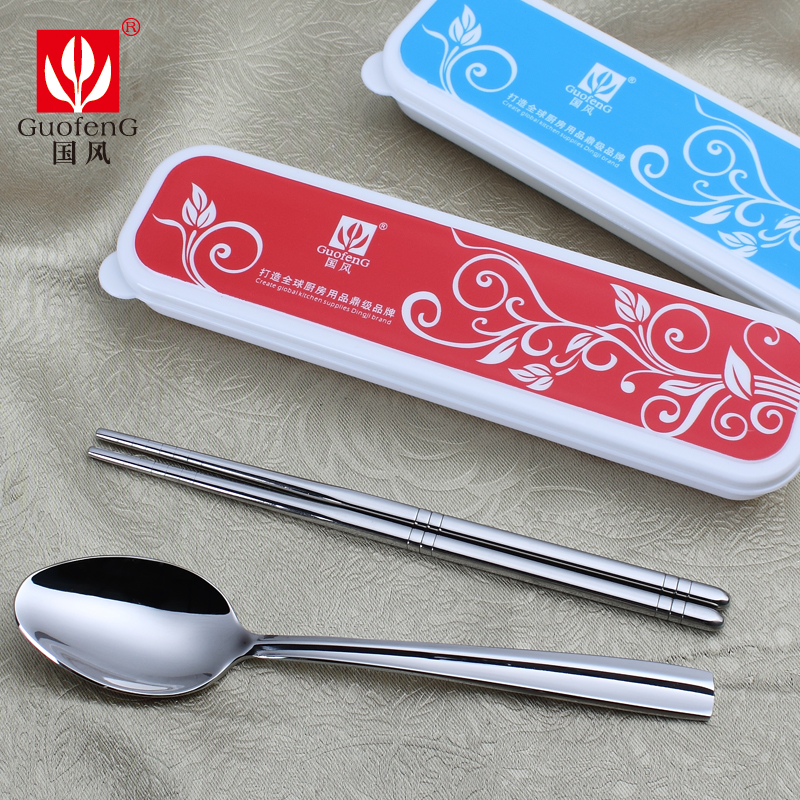 Mak 304 stainless steel chopsticks spoon cutlery box portable student travel green korea long handle spoon chopsticks chopsticks spoon suit