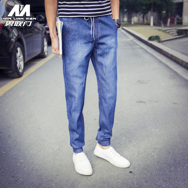 Male alliance door closing leg elastic beam leg pants jeans for men spring sports trousers small feet pants trousers tide Big yards