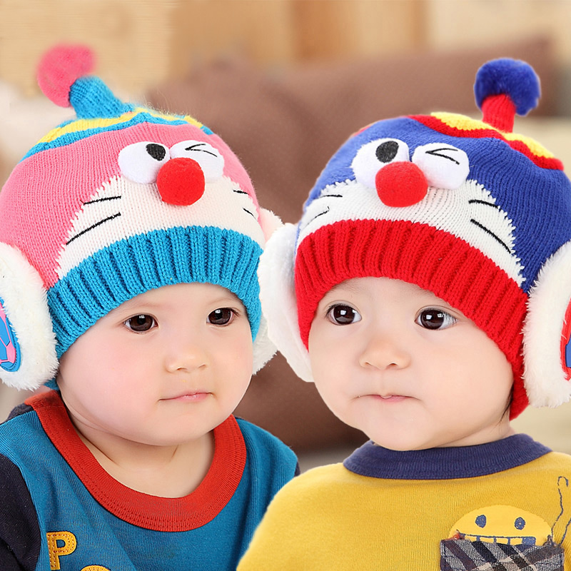 Male and female baby hat children wool hat knitted hat autumn and winter days cute ear warm hat infant hedging cap