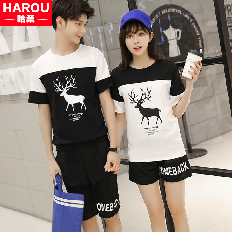 Male and female lovers spring and summer 2016 new round neck short sleeve t-shirt shirt casual shorts shipped action suit student class service
