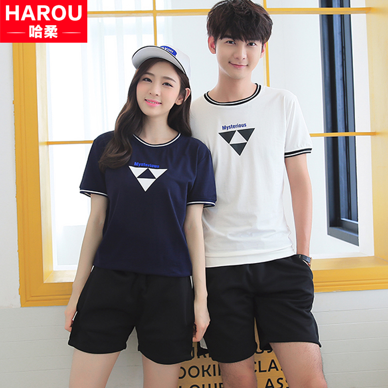 Male and female lovers summer 2016 new korean version of casual students loose class service sports suit t-shirt shorts