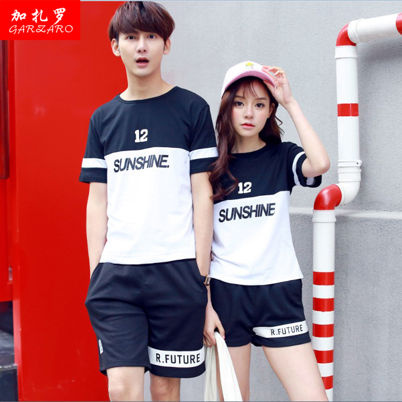 Male and female lovers summer korean short sleeve t-shirt suits sports competitions at the beginning of high school students class service uniforms big yards