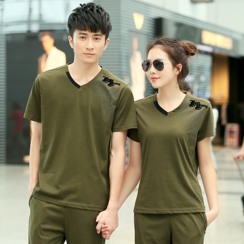 Male pattern short sleeve shirt summer new women's v-neck t-shirt sports lovers small yards xl genuine mail