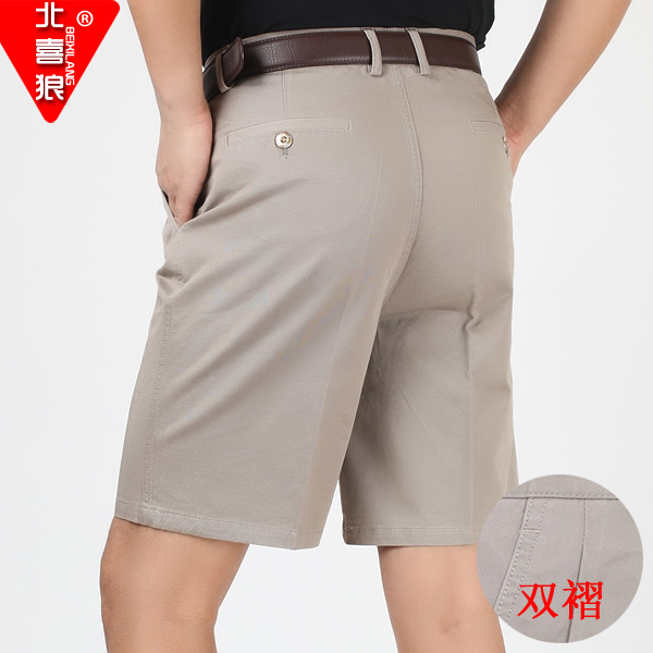 Male summer cotton casual suit pants shorts male middle-aged father xl shorts shorts waist wrinkle