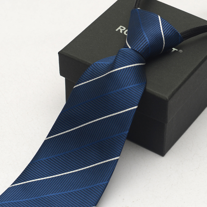 Male zipper tie easy to pull convenient tie tie blue striped tie business suits tie tie tie work