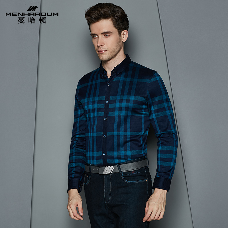 Man hatton sleeved cotton shirt 2016 new fall men's business casual plaid shirt slim cotton shirt men