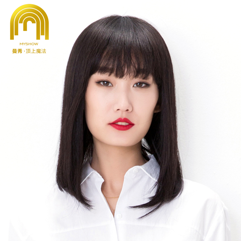 Man show ms. liu qi long straight hair real hair wig full hand darn package middle-aged human hair wig