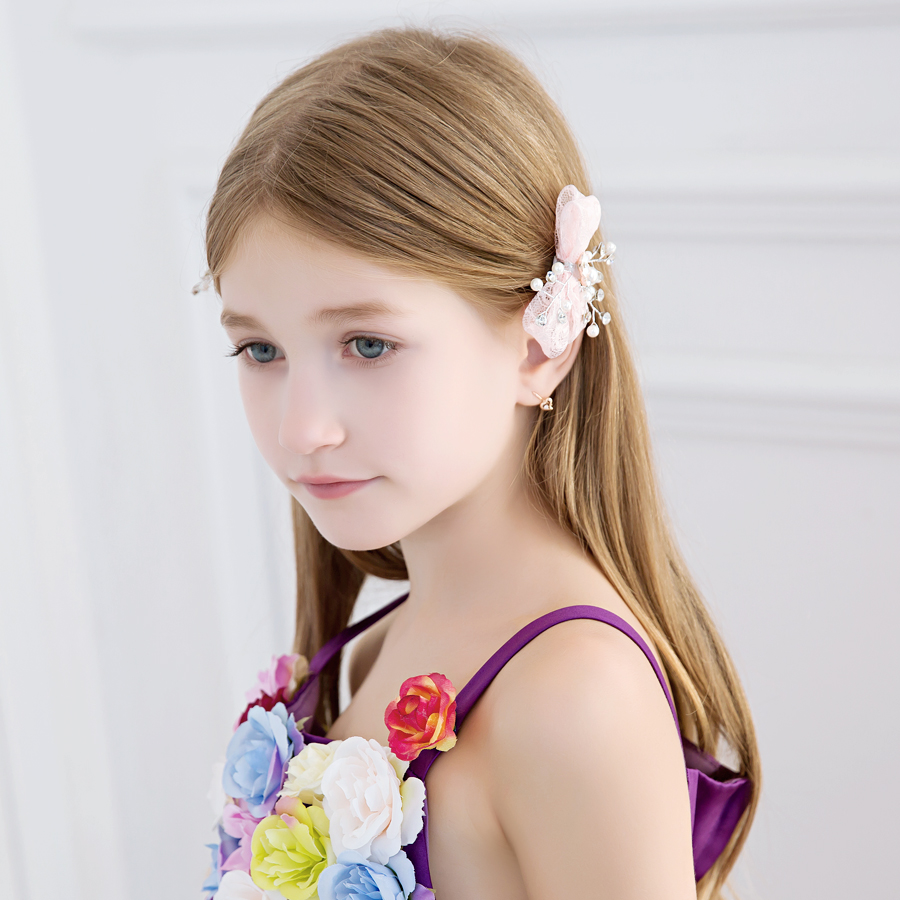 Man shu ni flower girl dresses children's jewelry small hairpin hairpin headdress small jewelry korean version of the pink for girls dress up