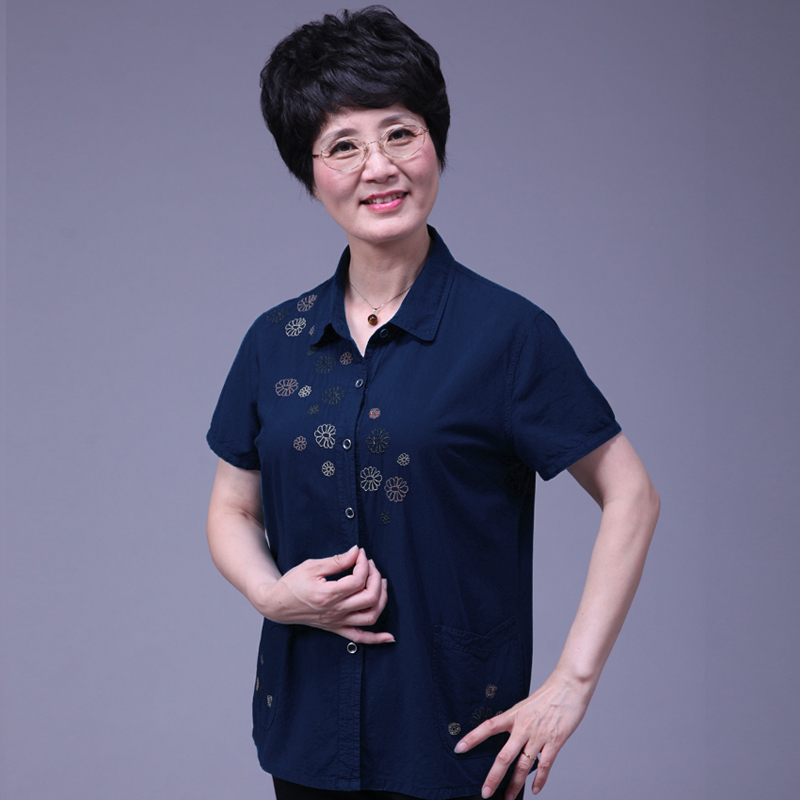 Mando china women's elderly mother summer new cotton shirt short sleeve dress elderly grandmother summer clothes