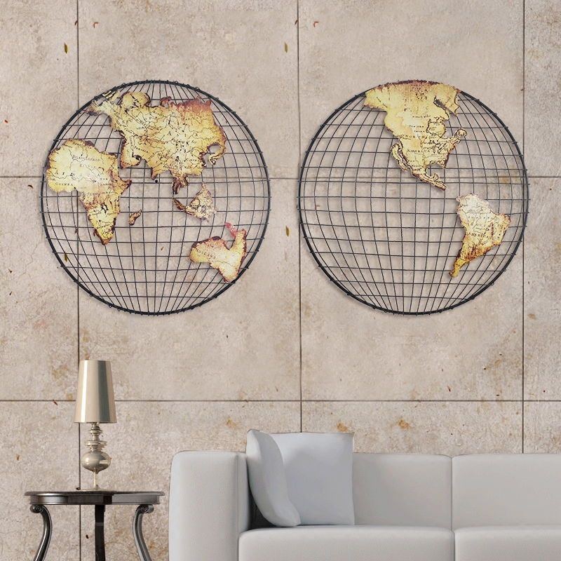 Map of the world wrought iron decorative wall hanging wall hangings american industrial wind loft style complex ancient decorated bar and restaurant