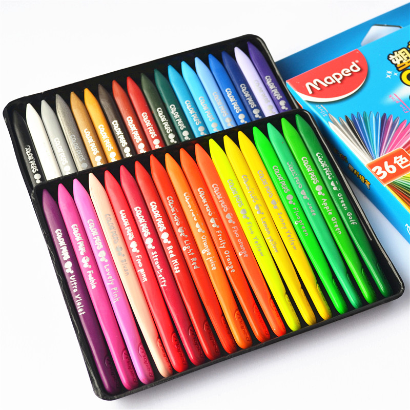 Maped maped student art 24 36 48 color plastic crayons children's painting graffiti brush sticky