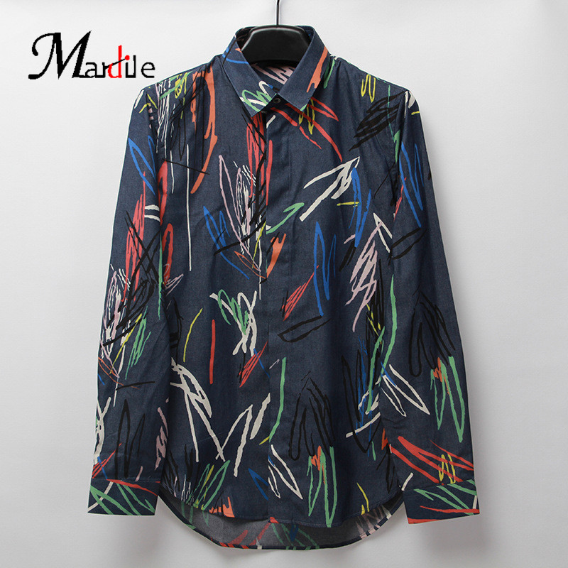 Mardile custom spring and summer 2016 new european and american fashion simple men's long sleeve printing small fresh shirt