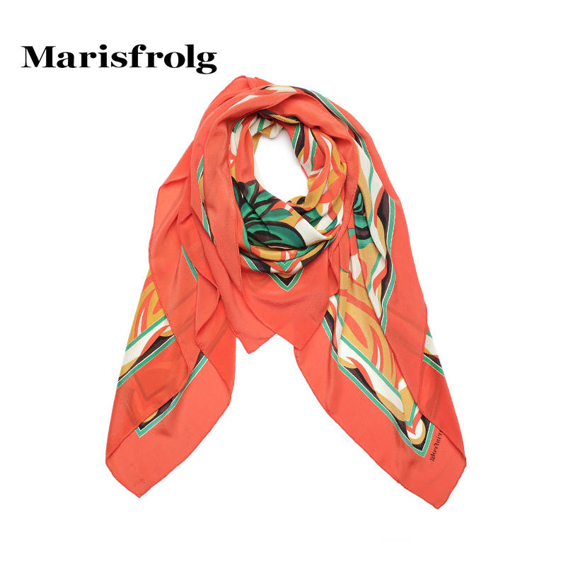 Marisfrolg masifeier counter genuine summer new women printed silk scarves long section of fashion