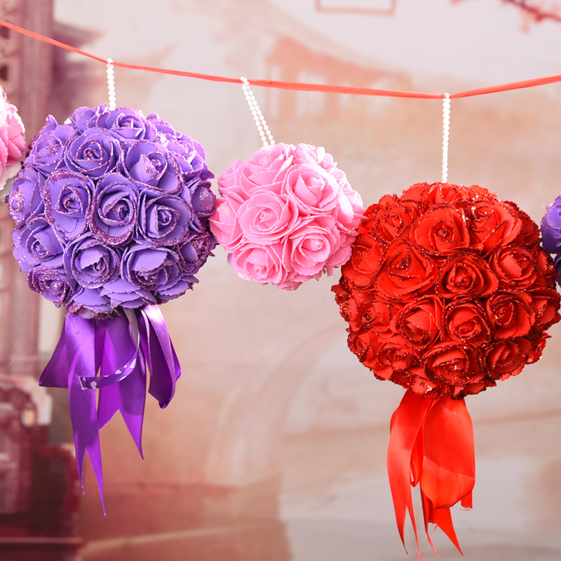Marriage room decoration wedding garland decorated marriage room layout wedding supplies flower ball ornaments shaman marriage room ornaments