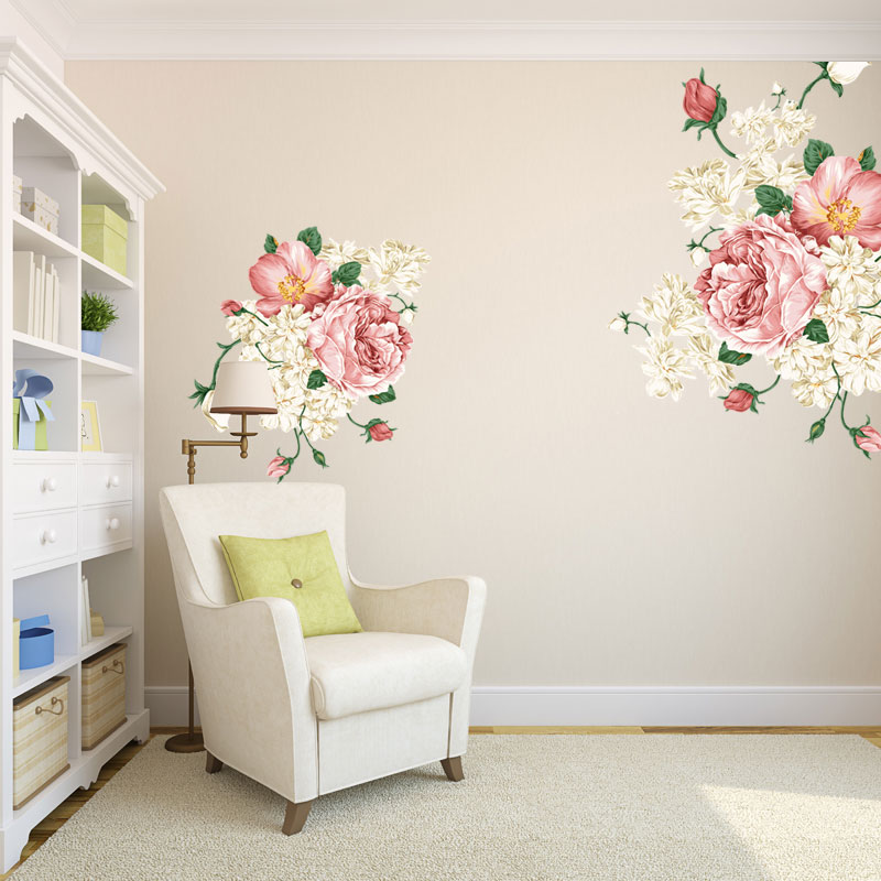 Marriage room living room sofa tv backdrop cozy bedroom wall stickers peony flower bed decoration wall sticker wall stickers